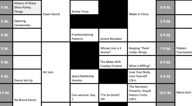 The Schedule for No Brand Con 2017!